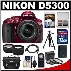 Nikon D5300 Digital SLR Camera & 18-55mm G VR DX II AF-S Zoom Lens (Red) with 32GB Card + Battery + Case + Tripod + Tele/Wide Lens Kit