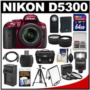 Nikon D5300 Digital SLR Camera & 18-55mm G VR DX II AF-S Zoom Lens (Red) with 64GB Card + Battery + Charger + Case + Tripod + Flash + Tele/Wide Lens Kit