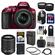 Nikon D5300 Digital SLR Camera & 18-55mm G VR DX II AF-S Zoom Lens (Red) with 55-200mm VR II Lens + 64GB Card + Backpack + Battery & Charger + Tele/Wide Lens Kit