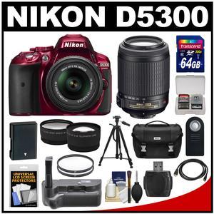 Nikon D5300 Digital SLR Camera & 18-55mm G VR DX II AF-S Zoom Lens (Red) with 55-200mm VR Lens + 64GB Card + Battery + Case + Grip + Tele/Wide Lens Kit