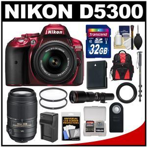 Nikon D5300 Digital SLR Camera & 18-55mm G VR DX II AF-S Zoom Lens (Red) with 55-300mm & 500mm Lenses + 32GB Card + Backpack + Battery & Charger + Monopod Kit