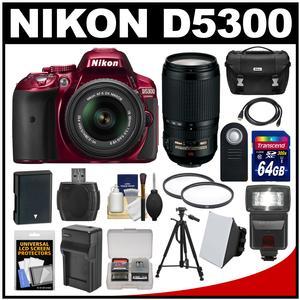 Nikon D5300 Digital SLR Camera & 18-55mm G VR DX II AF-S Zoom Lens (Red) with 70-300mm VR Lens + 64GB Card + Battery & Charger + Case + Flash + Tripod + Kit