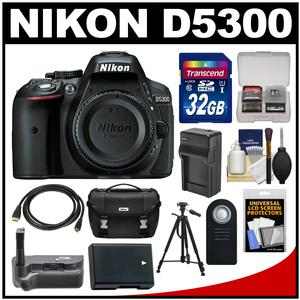 Nikon D5300 Digital SLR Camera Body (Black) with 32GB Card + Case + Grip + Battery & Charger + Tripod + HDMI Cable + Remote Kit