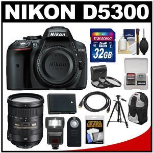 Nikon D5300 Digital SLR Camera Body (Black) with 18-200mm VR II Zoom Lens + 32GB Card + Backpack + Flash + Battery + Tripod Kit