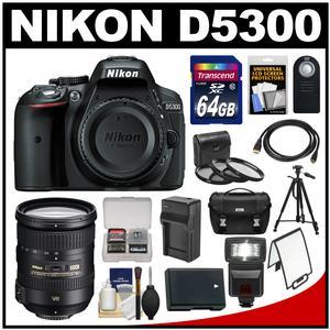 Nikon D5300 Digital SLR Camera Body (Black) with 18-200mm VR II Zoom Lens + 64GB Card + Case + Flash + Battery + Tripod + Kit