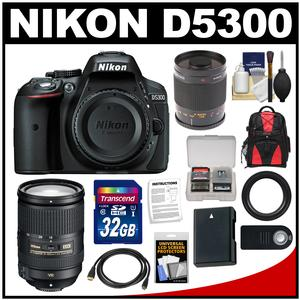 Nikon D5300 Digital SLR Camera Body (Black) with 18-300mm VR Zoom & 500mm Mirror Lens + 32GB Card + Backpack + Battery Kit