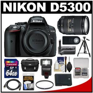 Nikon D5300 Digital SLR Camera Body (Black) with 18-300mm VR Zoom Lens + 64GB Card + Case + Flash + Grip + Battery + Tripod Kit
