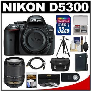 Nikon D5300 Digital SLR Camera Body (Black) with 18-140mm VR Zoom Lens + 32GB Card + Case + Battery + Tripod + Kit