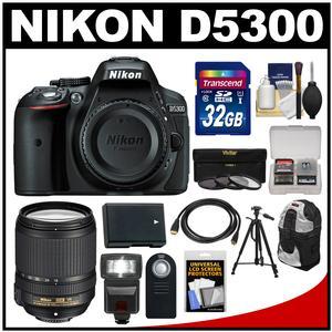 Nikon D5300 Digital SLR Camera Body (Black) with 18-140mm VR Zoom Lens + 32GB Card + Backpack + Flash + Battery + Tripod Kit