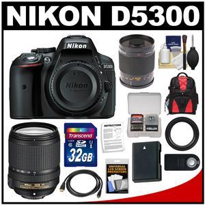 Nikon D5300 Digital SLR Camera Body (Black) with 18-140mm VR Zoom & 500mm Mirror Lens + 32GB Card + Backpack + Battery Kit