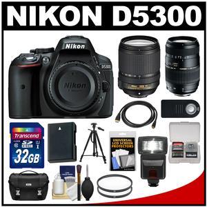 Nikon D5300 Digital SLR Camera Body (Black) with 18-140mm VR & 70-300mm Zoom Lens + 32GB Card + Case + Flash + Battery Kit