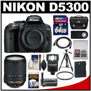 Nikon D5300 Digital SLR Camera Body (Black) with 18-140mm VR Zoom Lens + 64GB Card + Case + Flash + Grip + Battery + Tripod Kit