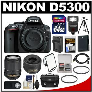 Nikon D5300 Digital SLR Camera Body (Black) with 35mm f/1.8 & 18-140mm VR Zoom Lens + 64GB Card + Case + Flash + Battery Kit