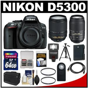 Nikon D5300 Digital SLR Camera Body (Black) with 18-140mm VR Zoom Lens + 55-300mm VR Zoom Lens + 64GB Card + Case + Flash Kit