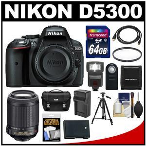 Nikon D5300 Digital SLR Camera Body (Black) with 55-200mm VR Zoom Lens + 64GB Card + Case + Flash + Battery & Charger + Tripod Kit
