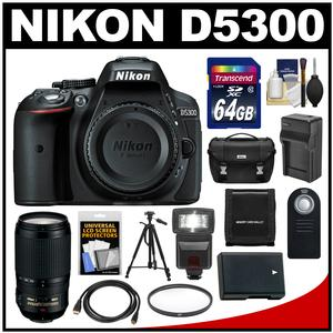 Nikon D5300 Digital SLR Camera Body (Black) with 70-300mm VR Zoom Lens + 64GB Card + Case + Flash + Battery & Charger + Tripod Kit