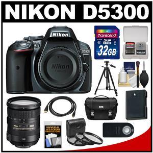 Nikon D5300 Digital SLR Camera Body (Grey) with 18-200mm VR II Zoom Lens + 32GB Card + Case + Battery + Tripod + Kit