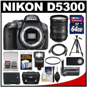 Nikon D5300 Digital SLR Camera Body (Grey) with 18-200mm VR II Lens + 64GB Card + Case + Flash + Battery + Tripod Kit