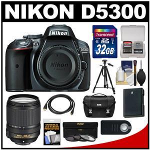 Nikon D5300 Digital SLR Camera Body (Grey) with 18-140mm VR Zoom Lens + 32GB Card + Case + Battery + Tripod + Kit