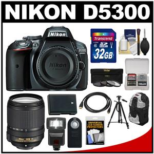 Nikon D5300 Digital SLR Camera Body (Grey) with 18-140mm VR Zoom Lens + 32GB Card + Backpack + Flash + Battery + Tripod Kit