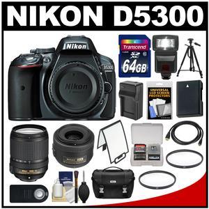 Nikon D5300 Digital SLR Camera Body (Grey) with 35mm f/1.8 & 18-140mm VR Zoom Lens + 64GB Card + Case + Flash + Battery Kit
