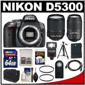 Nikon D5300 Digital SLR Camera Body (Grey) with 18-140mm VR Zoom Lens + 55-300mm VR Zoom Lens + 64GB Card + Case + Flash Kit