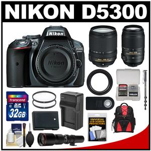 Nikon D5300 Digital SLR Camera Body (Grey) with 18-140mm 55-300mm VR & 500mm Lenses + 32GB Card + Backpack + Battery & Charger Kit