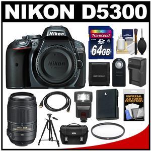 Nikon D5300 Digital SLR Camera Body (Grey) with 55-300mm VR Zoom Lens + 64GB Card + Case + Flash + Battery & Charger + Tripod Kit