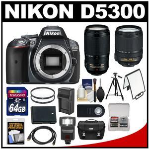 Nikon D5300 Digital SLR Camera Body (Grey) with 18-140mm & 70-300mm VR Lens + 64GB Card + Case + Flash + Battery/Charger + Tripod Kit