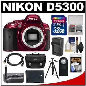 Nikon D5300 Digital SLR Camera Body (Red) with 32GB Card + Case + Grip + Battery & Charger + Tripod + HDMI Cable + Remote Kit