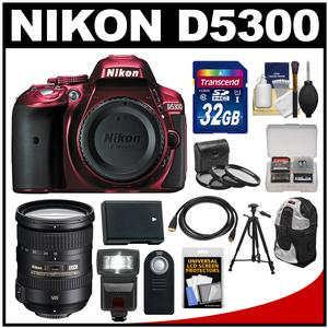 Nikon D5300 Digital SLR Camera Body (Red) with 18-200mm VR II Zoom Lens + 32GB Card + Backpack + Flash + Battery + Tripod Kit