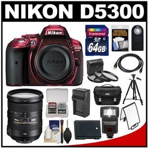 Nikon D5300 Digital SLR Camera Body (Red) with 18-200mm VR II Zoom Lens + 64GB Card + Case + Flash + Battery + Tripod + Kit