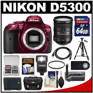 Nikon D5300 Digital SLR Camera Body (Red) with 18-200mm VR II Lens + 64GB Card + Case + Flash + Battery + Tripod Kit