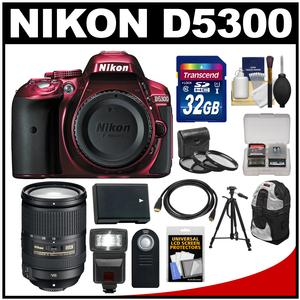 Nikon D5300 Digital SLR Camera Body (Red) with 18-300mm VR Zoom Lens + 32GB Card + Backpack + Flash + Battery + Tripod Kit