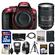 Nikon D5300 Digital SLR Camera Body (Red) with 18-300mm VR Zoom Lens + 32GB Card + Backpack + Flash + Battery + Tripod Kit