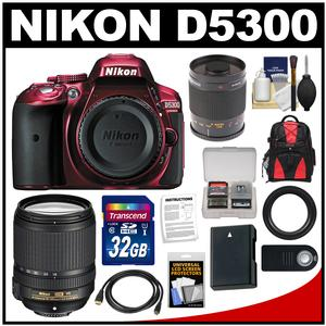 Nikon D5300 Digital SLR Camera Body (Red) with 18-140mm VR Zoom & 500mm Mirror Lens + 32GB Card + Backpack + Battery Kit
