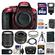 Nikon D5300 Digital SLR Camera Body (Red) with 35mm f/1.8 & 18-140mm VR Zoom Lens + 64GB Card + Case + Flash + Battery Kit