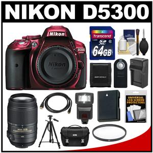 Nikon D5300 Digital SLR Camera Body (Red) with 55-300mm VR Zoom Lens + 64GB Card + Case + Flash + Battery & Charger + Tripod Kit