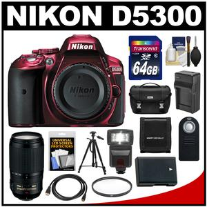 Nikon D5300 Digital SLR Camera Body (Red) with 70-300mm VR Zoom Lens + 64GB Card + Case + Flash + Battery & Charger + Tripod Kit