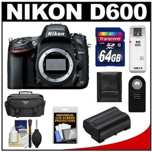 Nikon D600 Digital SLR Camera Body - Factory Refurbished with 64GB Card + Battery + Case + Remote + Accessory Kit