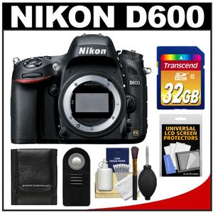 Nikon D600 Digital SLR Camera Body - Factory Refurbished with 32GB Card + Remote + Accessory Kit