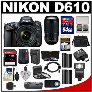 Nikon D610 Digital SLR Camera with 24-85mm & 70-300mm VR Lenses WU-1b Bag & 32GB Card with 64GB Card + Flash + Grip + Batteries & Charger + Filters + Remote Kit