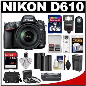 Nikon D610 Digital SLR Camera with 28-300mm VR AF-S Zoom Lens Shoulder Bag & 32GB Card with 64GB Card + Flash + Grip + 2 Batteries & Charger + Filters + Remote Kit