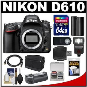 Nikon D610 Digital SLR Camera Body with 64GB Card + Case + Flash + Grip + Battery + HDMI Cable + Remote + Accessory Kit