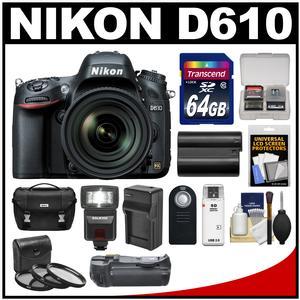 Nikon D610 Digital SLR Camera Body with 24-120mm VR AF-S Lens + 64GB Card + Case + Flash + Grip + Battery & Charger Kit