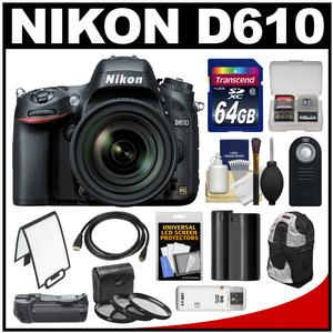 Nikon D610 Digital SLR Camera Body with 28-300mm VR AF-S Lens + 64GB Card + Sling Case + Grip + Battery + Filters Kit