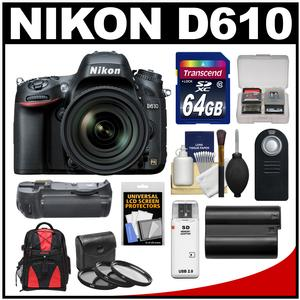 Nikon D610 Digital SLR Camera & 24-85mm VR AF-S Zoom Lens with 64GB Card + Backpack + Grip + Battery + 3 Filters + Remote Kit