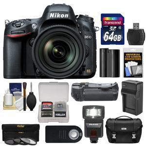 Nikon D610 Digital SLR Camera & 24-85mm VR AF-S Zoom Lens with 64GB Card + Case + Flash + Grip + Battery & Charger + 3 Filters + Remote Kit
