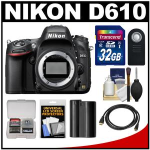 Nikon D610 Digital SLR Camera Body - Factory Refurbished with 32GB Card + Battery + HDMI Cable + Remote + Accessory Kit