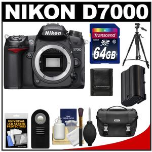 Nikon D7000 Digital SLR Camera Body with 64GB Card + Battery + Case + Tripod + ML-L3 Remote + Accessory Kit